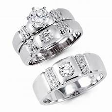 14k solid white gold cz engagement wedding 3 ring 14k