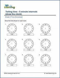 maths time worksheets for grade 3 3476 grade 3 telling time worksheet draw the clock 5 minute intervals k5 learning