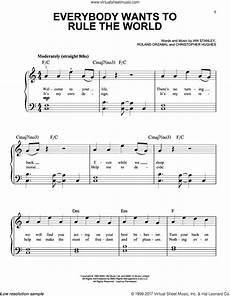 fears everybody wants to rule the world sheet music for piano solo