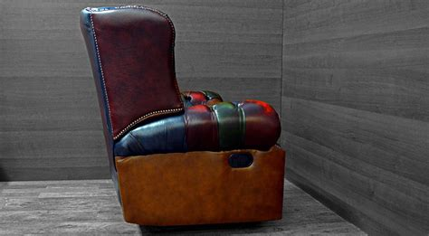 Poltrona Chesterfield Reclinabile Monk Vintage Patchwork