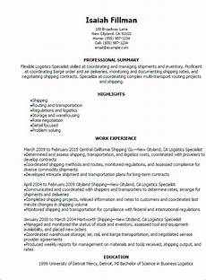 resume sles for logistics management specialist professional logistics specialist resume templates to