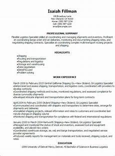 professional logistics specialist resume templates to