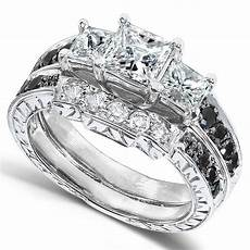 black and white diamond wedding 1 3 5 carats ctw in 14k white gold diamond wedding sets