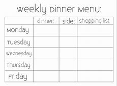 Sew Much Sunshine [to the square inch]: Weekly Dinner Menu