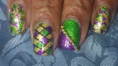 easy mardi gras nail art youtube