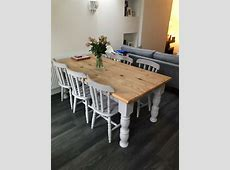 Solid farmhouse style pine table and 8 chairs.   in Sale