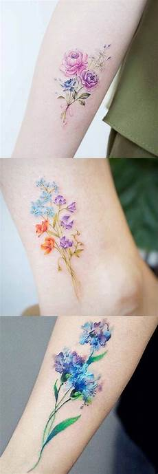small tiny floral flower ideas at mybodiart