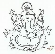 Lord Ganesha Sketch Templates