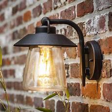 lutec cate exterior wall lantern in brown black fitting style from dusk lighting uk