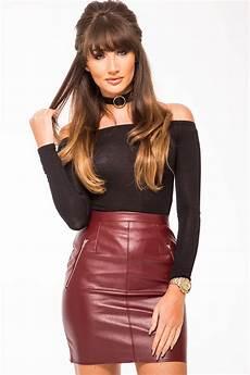 heidi burgundy vinyl pu zip front skirt