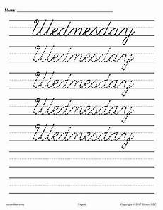 cursive handwriting worksheets days of the week 21350 7 free days of the week cursive handwriting worksheets 1234 cursive handwriting cursive