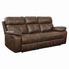 bowery hill faux leather motion reclining sofa in brown