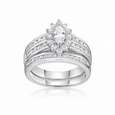 sterling silver simulated diamond marquise bridal ring
