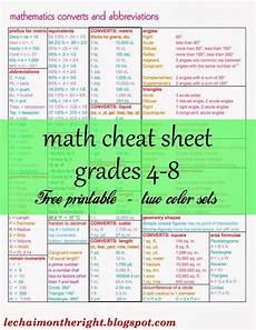 free math cheat sheet for grades 4 8 free homeschool deals