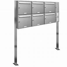 6er Premium Edelstahl Briefkasten Standanlage Freistehend