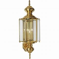 progress lighting brassguard 26 in h polished brass candelabra base e 12 outdoor wall light at