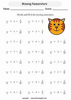 fraction missing numbers worksheets 4044 divide and find missing numerators printable grade 5 math worksheet