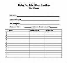 7 silent auction bid sheet sles sle templates