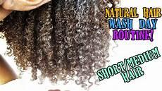wash day routine short medium natural hair youtube
