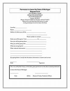 fillable online permission to leave the state of michigan request form fax email print pdffiller