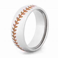 orange stitch baseball ring sports wedding rings titanium buzz com