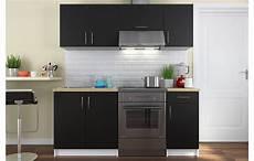 ensemble meubles de cuisine noir pour studio 180 cm