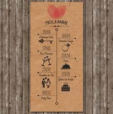 faire part mariage empreinte programme vintage kraft retro