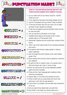 punctuation marks esl printable worksheets and exercises