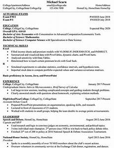 third year student summer 2019 internship resume actuary