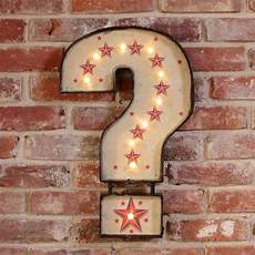 large retro light up question mark metal sign by