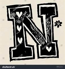 Charcoal Alphabet Doodle N Stock Vector 63385924