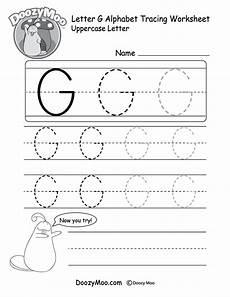 uppercase letter g tracing worksheet doozy moo