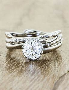 novella diamond unique nature inspired engagement ring with curved band ken dana