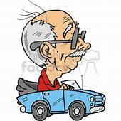 Royalty Free Older Man Driving His Blue Convertible 172831