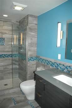 blue tile bathroom ideas master bath blue glass mosaic accent tile