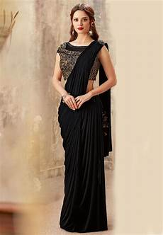 new trend hairstyle for pre stitched lycra cowl style saree in black suf8547