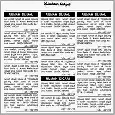 Contoh Iklan Baris Penawaran Penjualan Rumah Di Koran
