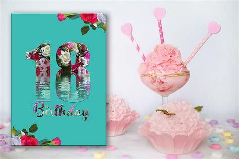 18th Birthday Card, Birthday Girl, Flowers Card, Girl, Off50