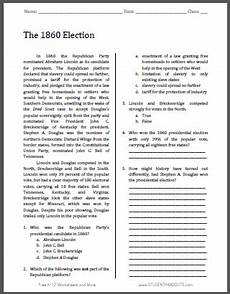 the 1860 election free printable american history