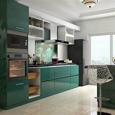 glossy green cabinets infuse vitality to this kitchen kitchen modular kitchen remodel small