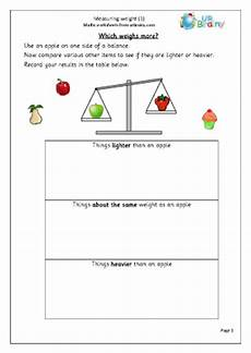 measure weight 1 shape and measures maths worksheets for