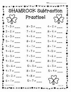 s day worksheets grade 1 20359 shamrock st s day subtraction practice 4 leveled worksheets
