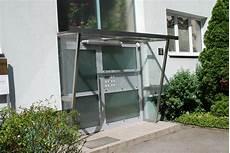 Vordach Mit Windschutz F 252 R Hauseingang Edelstahl Glas