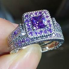 size 5 6 7 8 9 10 princess cut luxury trendy 18kt white gold filled purple aaa cubic zirconia