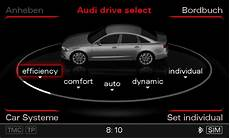 audi drive select five operating modes the audi drive select menu in the
