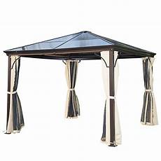 pavillon 3x3 m mit lichtdurchl 228 ssigem dach braun