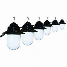 polymer products 6 light outdoor old string lights with black housing and white globes