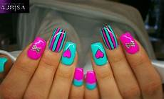 cute girly nail art pink nails stripe nails style