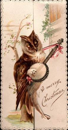 owl stands playing banjo a merry christmas christmas owls christmas postcard merry christmas