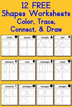 drawing shapes worksheets 1081 12 free shapes worksheets color trace connect draw shapes worksheets worksheets and shapes